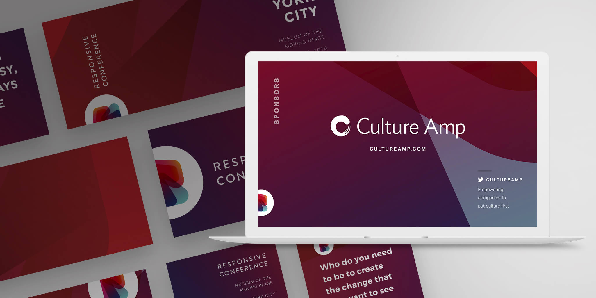 responsive conference social graphics and screen designs