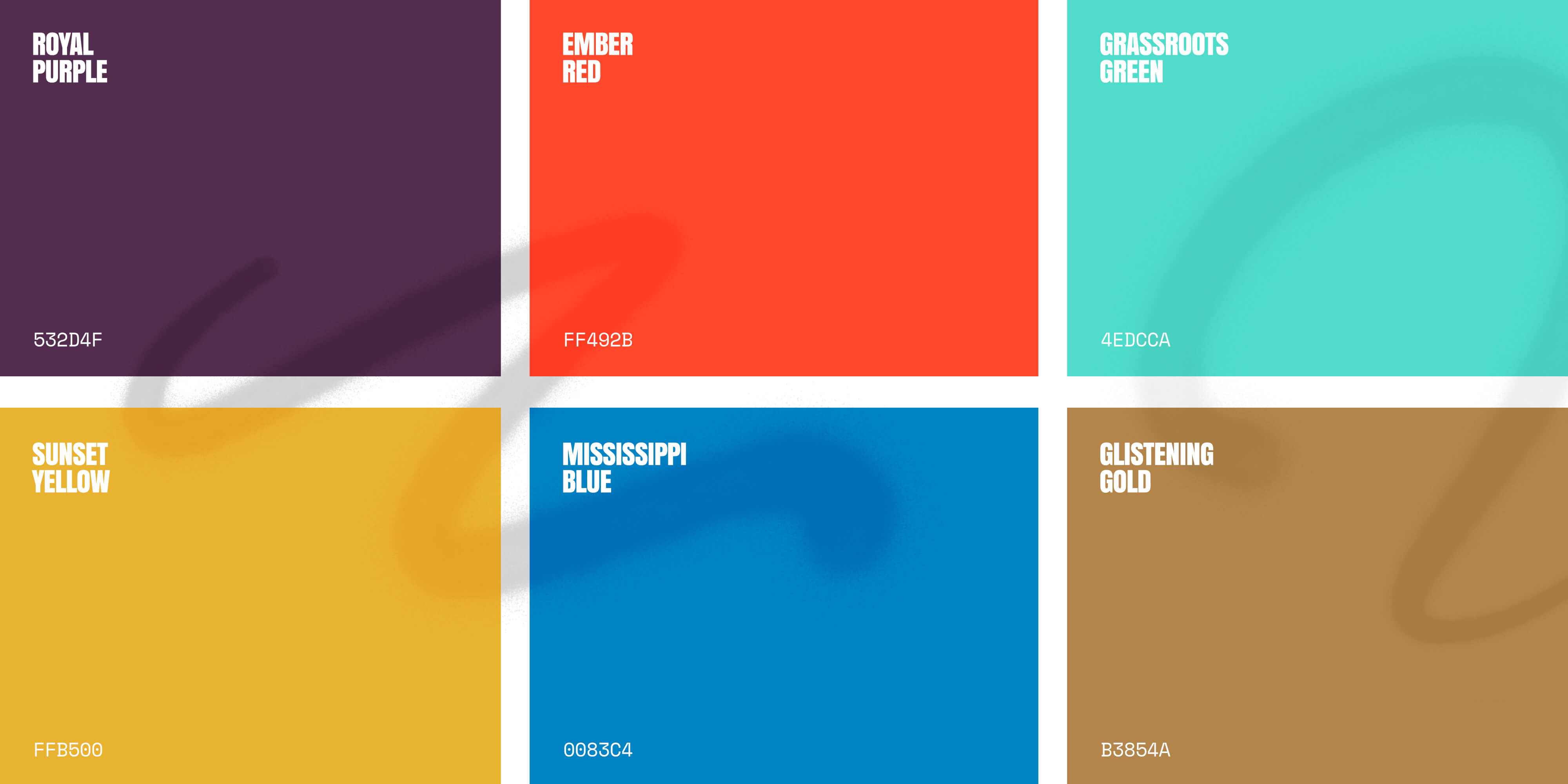 The grounded color palette: royal purple, ember red, grassroots green, sunset yellow, mississippi blue, and glistening gold