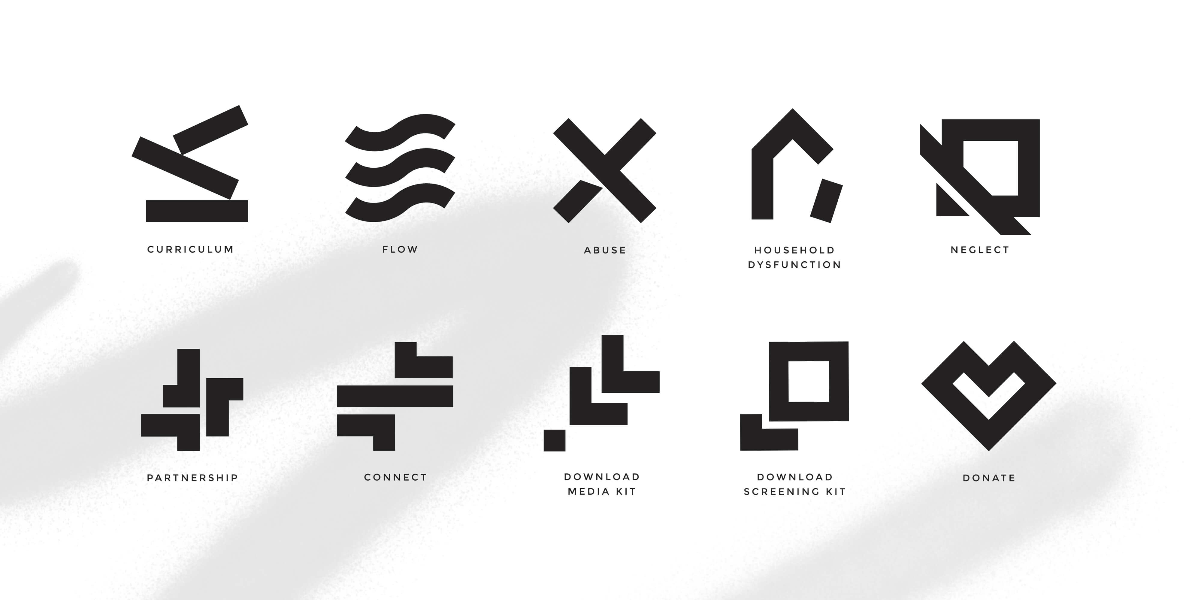 Set of custom designed icons