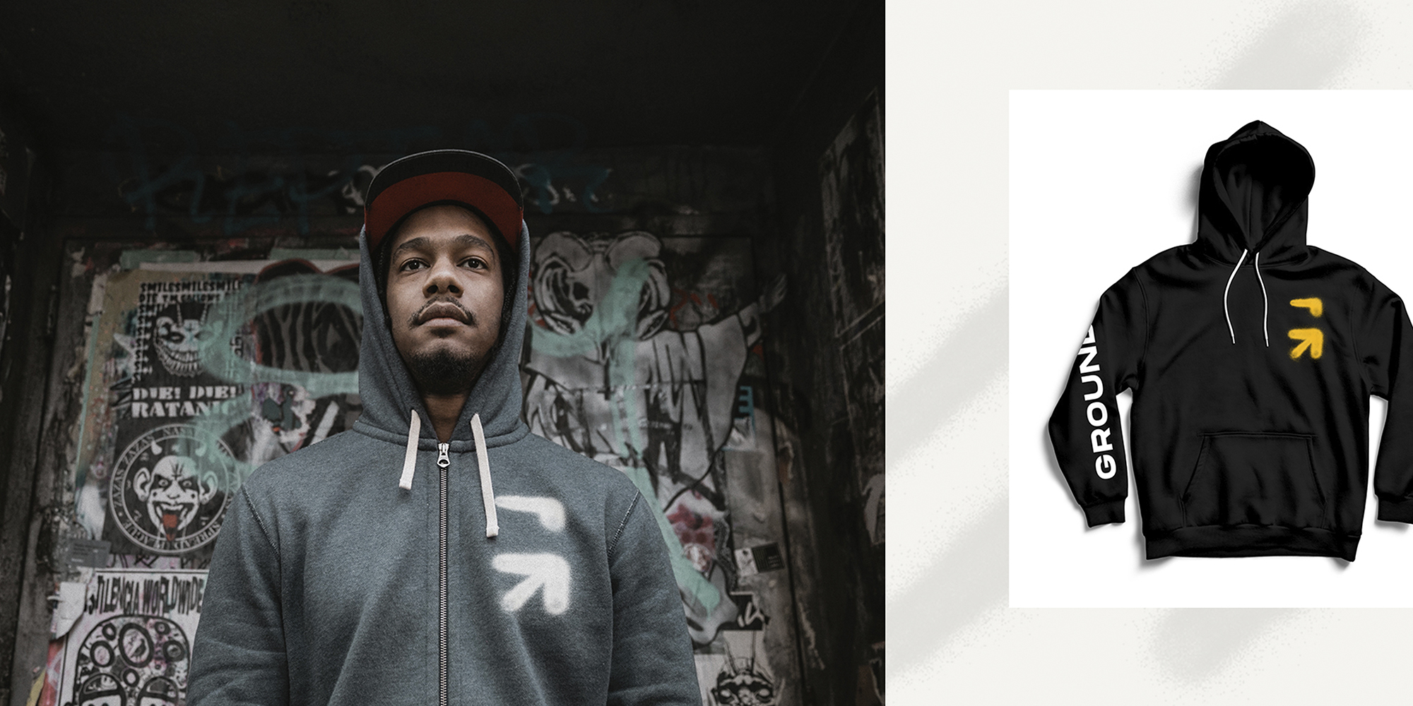 Left: Grounded team member modeling branded streetwear; Right: Black hoodie with Ground logo