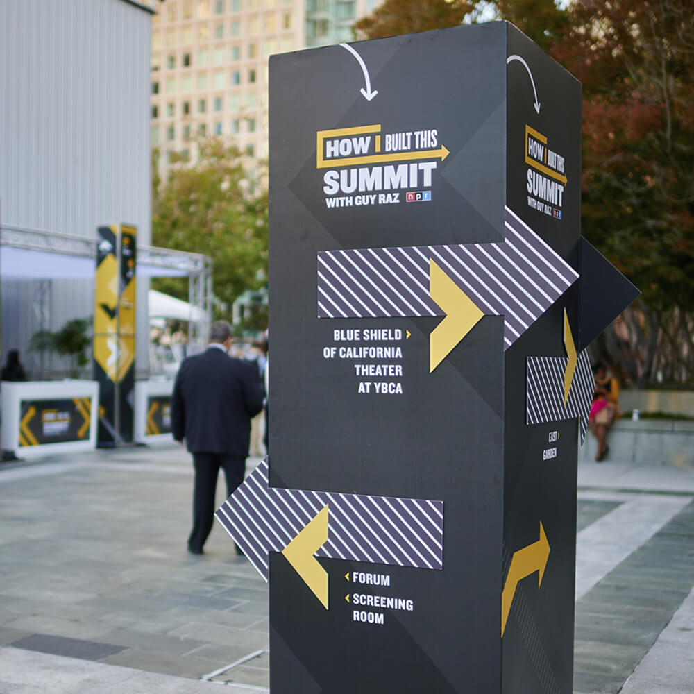 Wayfinding signage outside at HIBTS