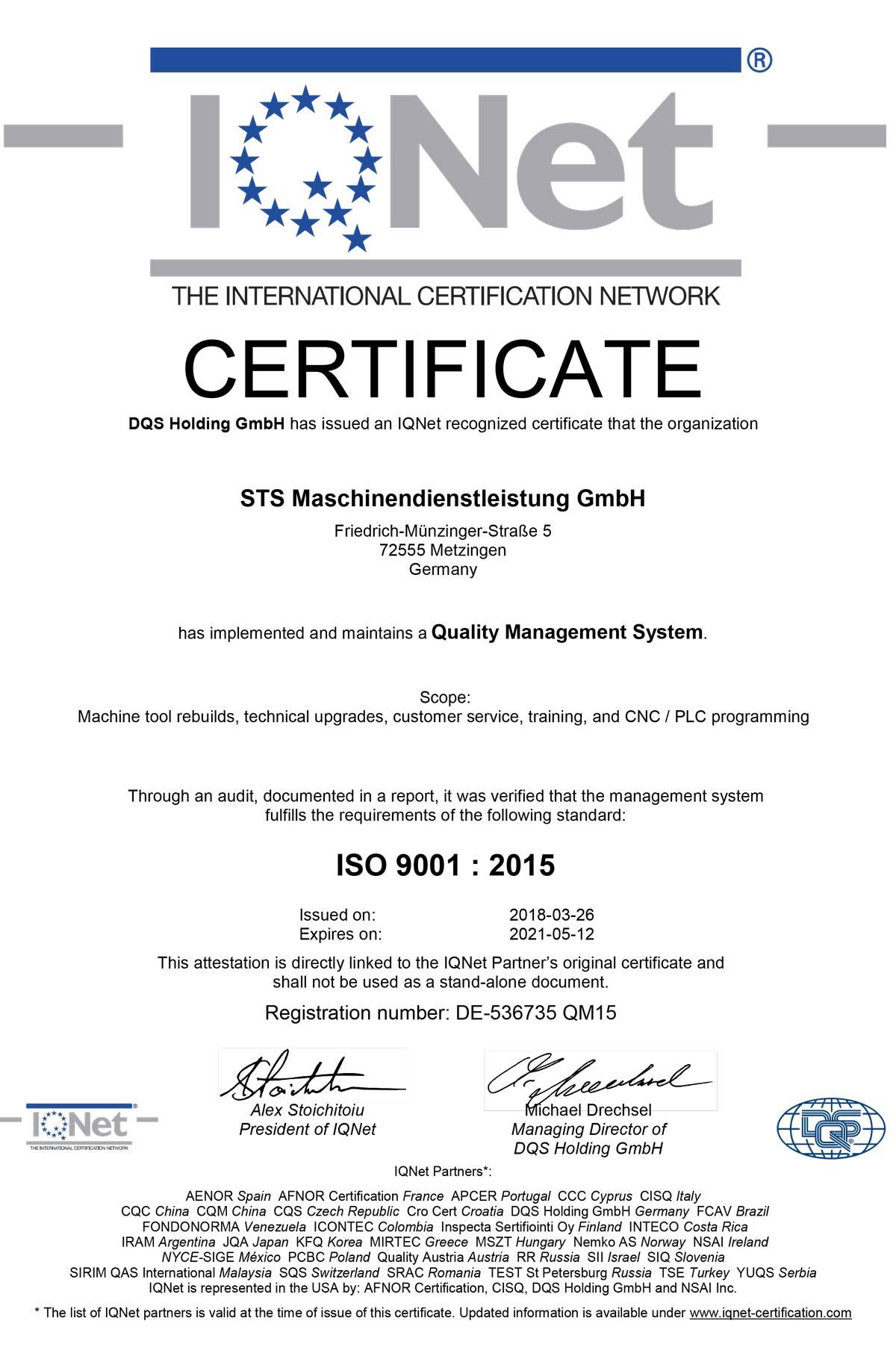 Zertifikat Qualität STS