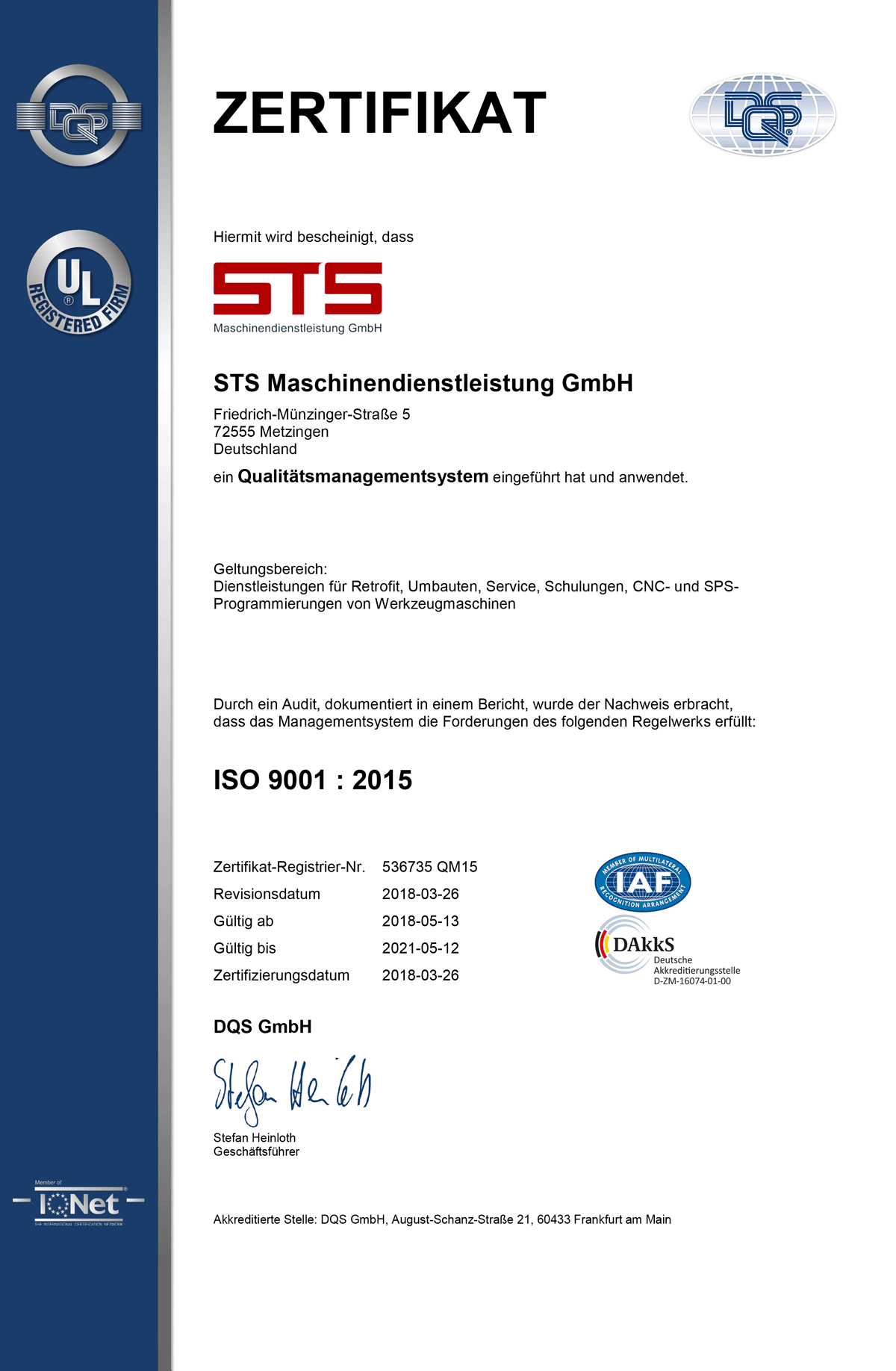 Zertifikat Qualität management system STS