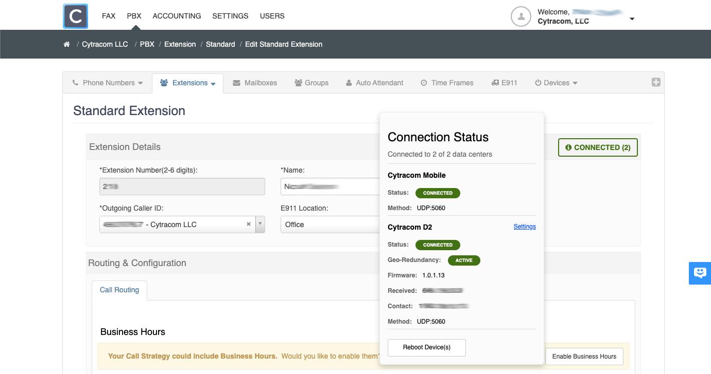 Cytracom Portal with Active Geo-Redundancy