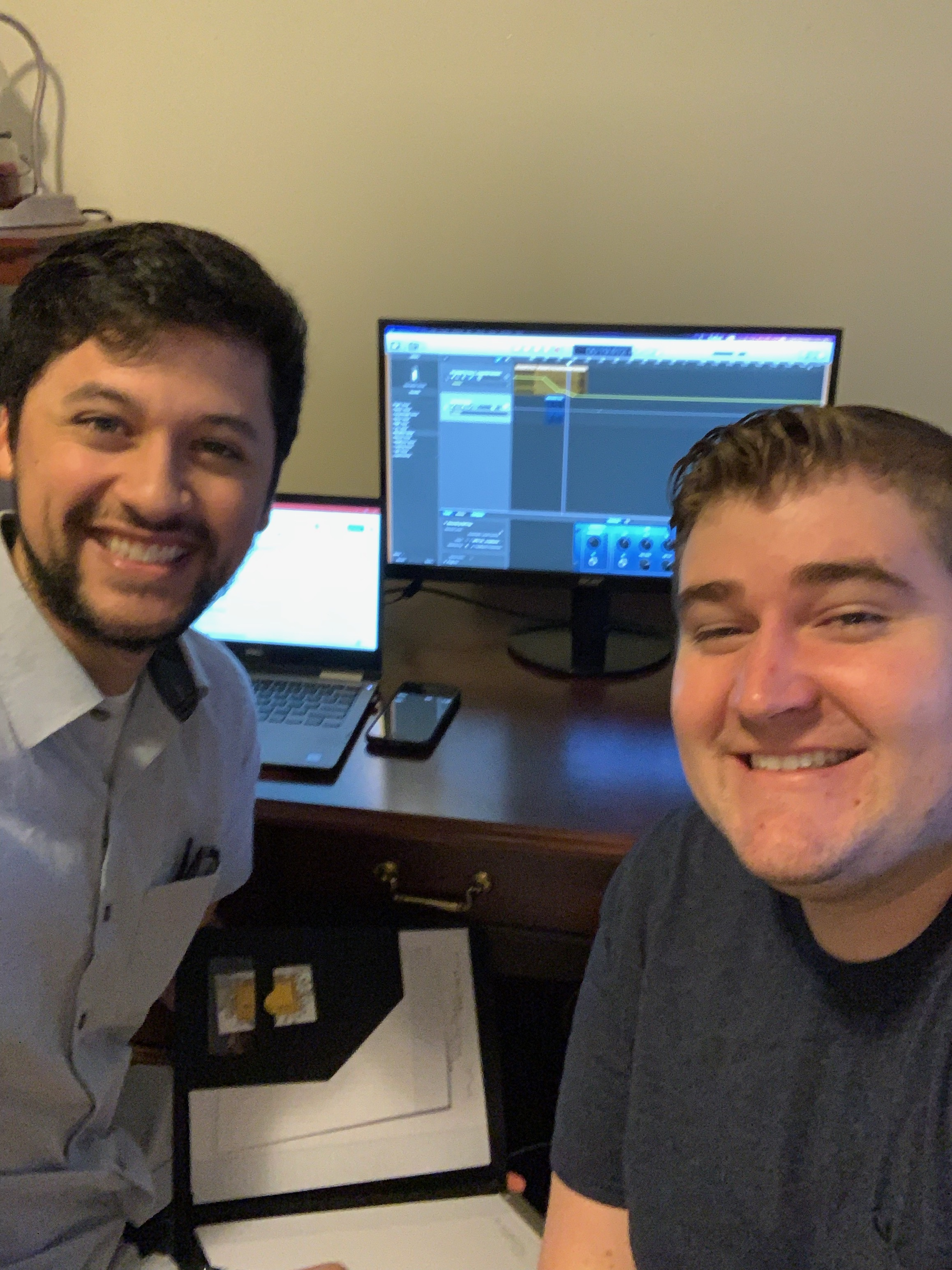 Jacob and Kalob recording our first podcast