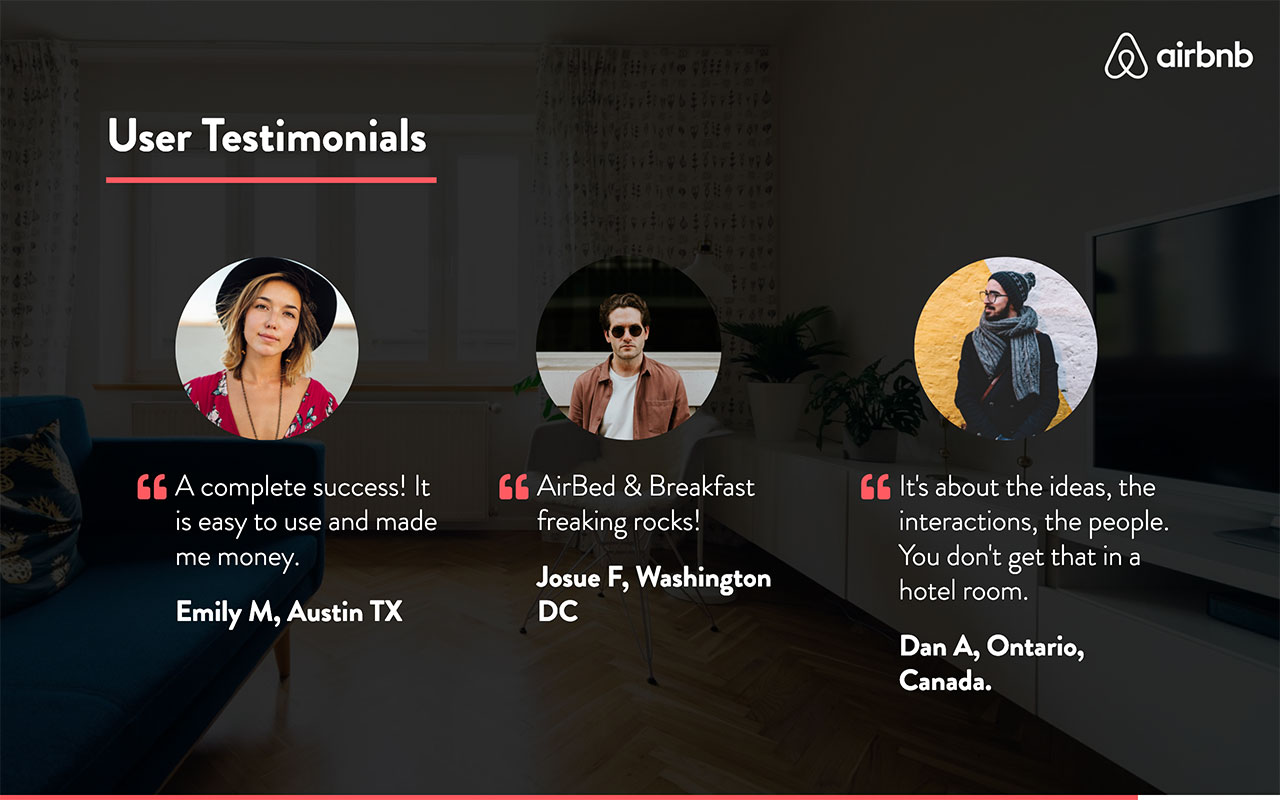 airbnb pitch deck Testimonials slide redesigned