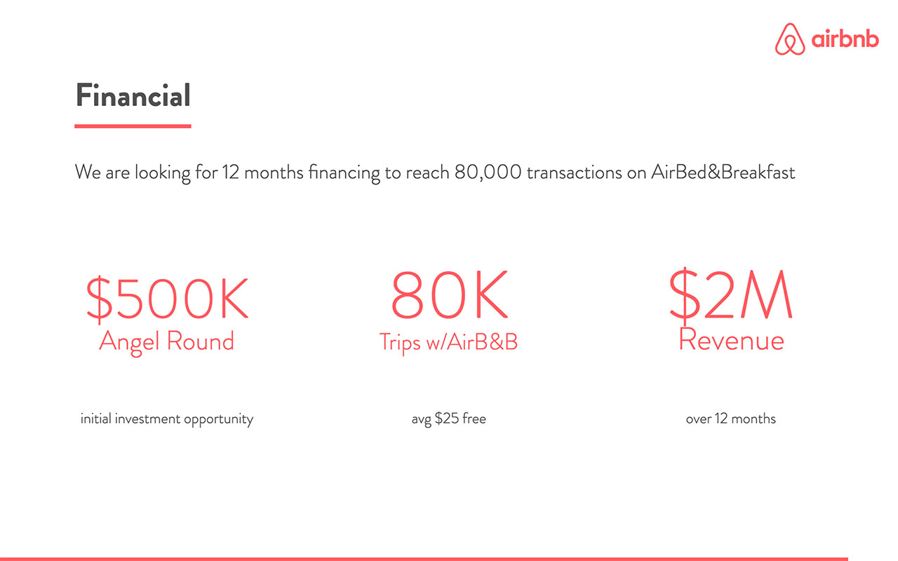 airbnb pitch deck Financial model redesigned slide