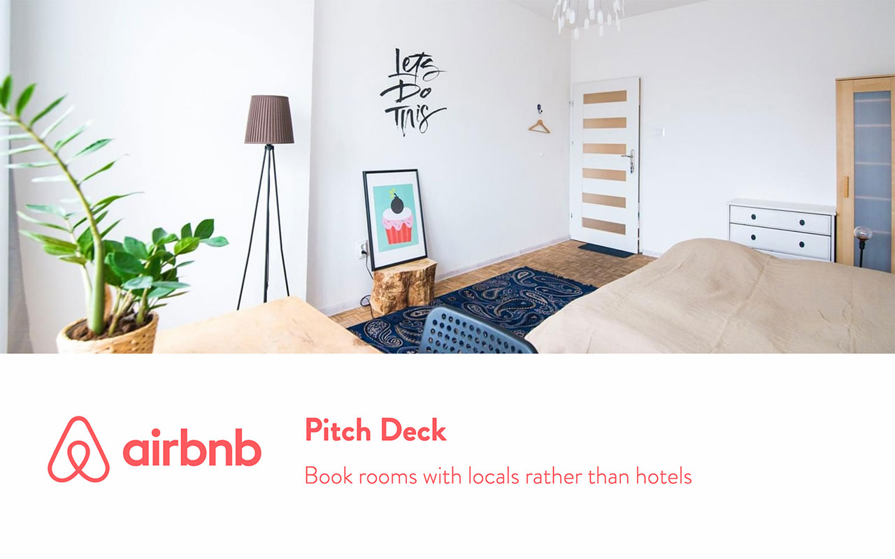Airbnb Pitch Deck cover slide showing a bedromm picture