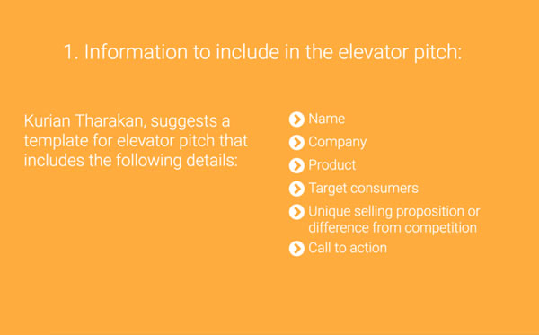 elevator pitch example slide about information to include