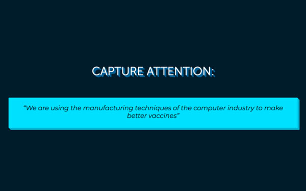 elevator pitch example slide Capture attention with description