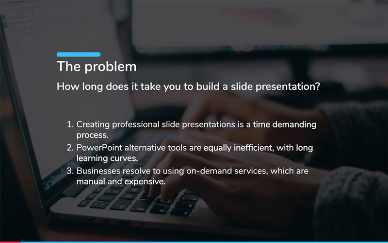 Slidebean pitch deck slide describing the problem they are solving