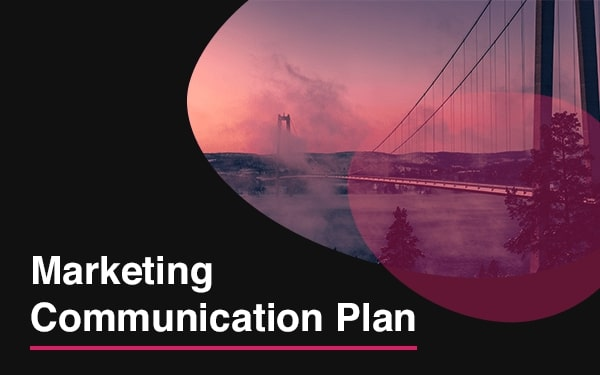 A computer showing a Marketing Communication Plan template example slide.