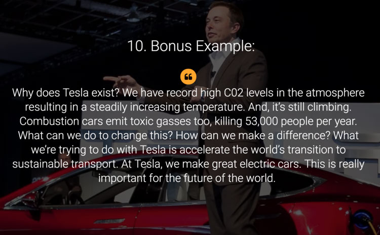 A slide about Tesla company with an Elon Musk picture in the background