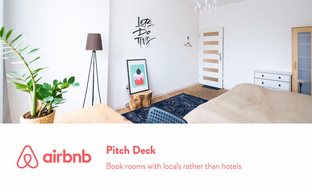 airbnb pitch deck, image contain: A room, a plant, a lamp