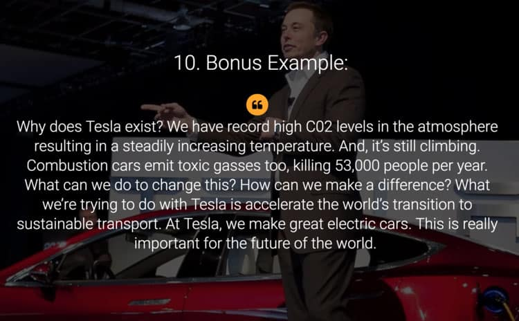 Tesla pitch deck, image contains Elon musk