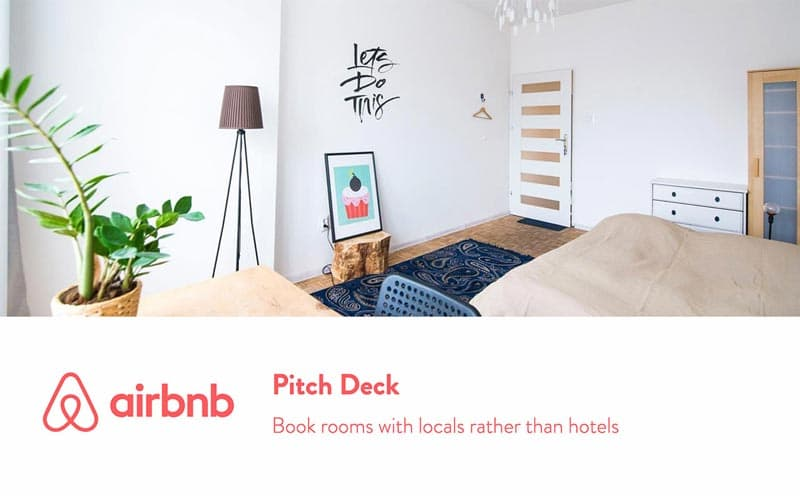 airbnb pitch deck template slide with a picture of a room