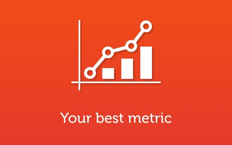 Slide about metrics with a linear chart icon in the center