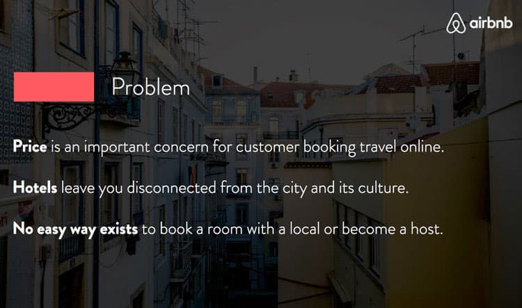 airbnb pitch deck problem slide