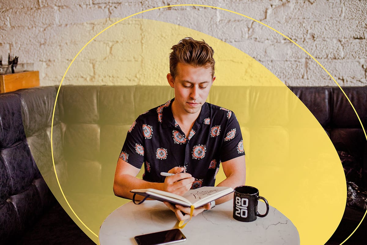 Startup pitch deck, a man writing ideas