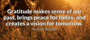 Gratitude makes sense of our past, brings peace for today, and creates vision for tomorrow. Melody Beattie.