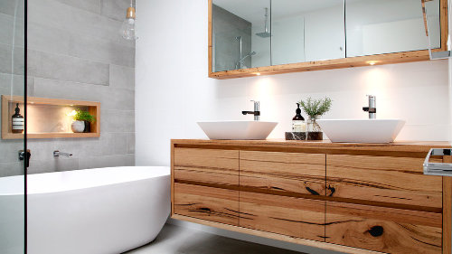 White & Timber Bathroom design