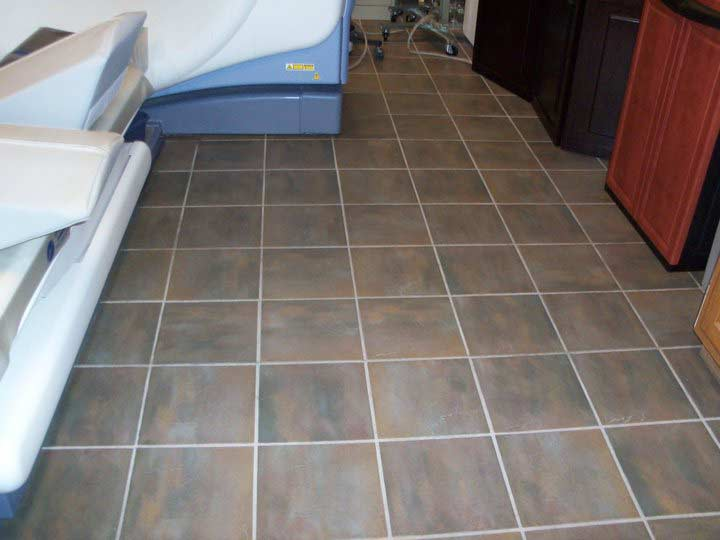 Tile cleaning in medical facility