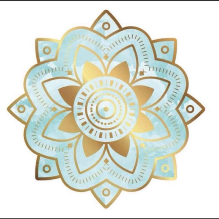 blue and gold mantra symbol