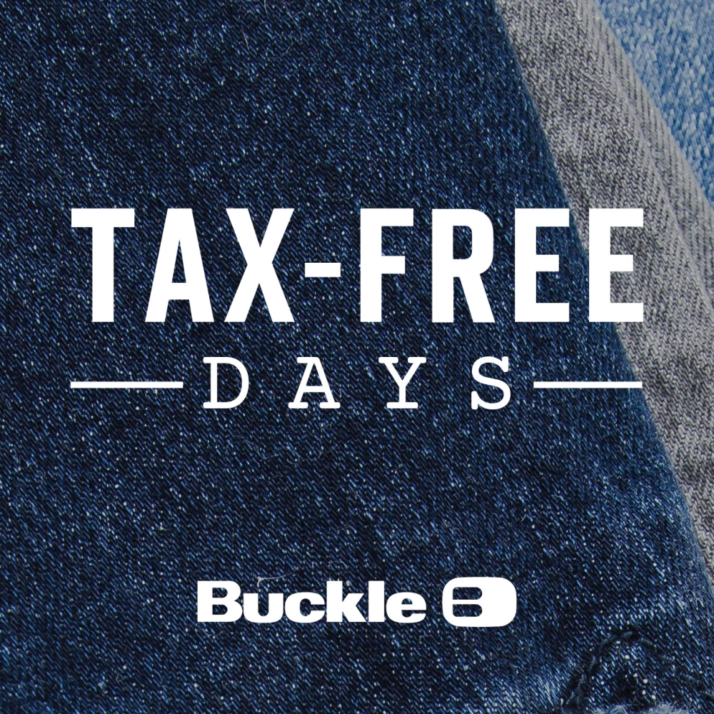 jeans with tax free days text and buckle logo