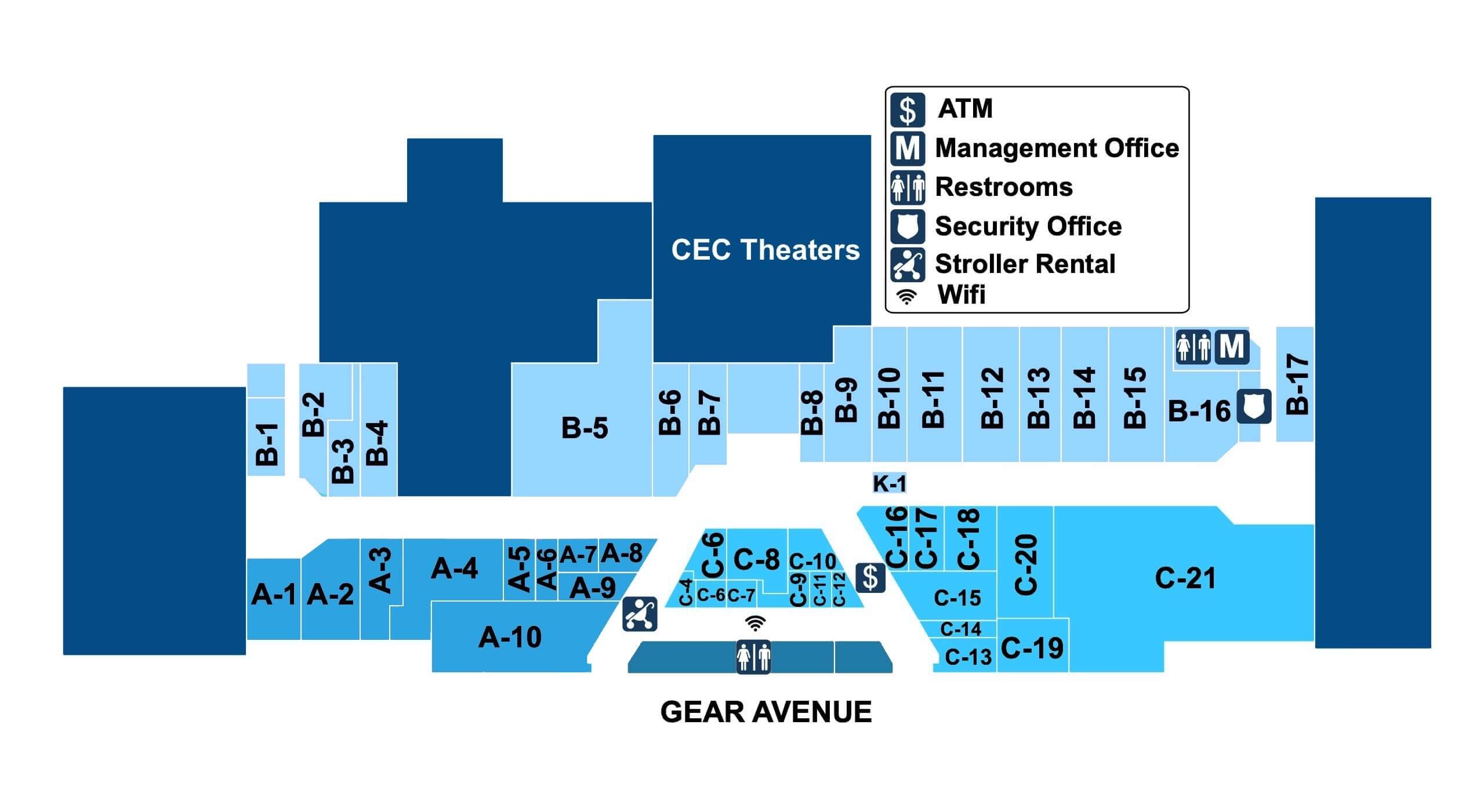 Map of the stores in Westland Mall