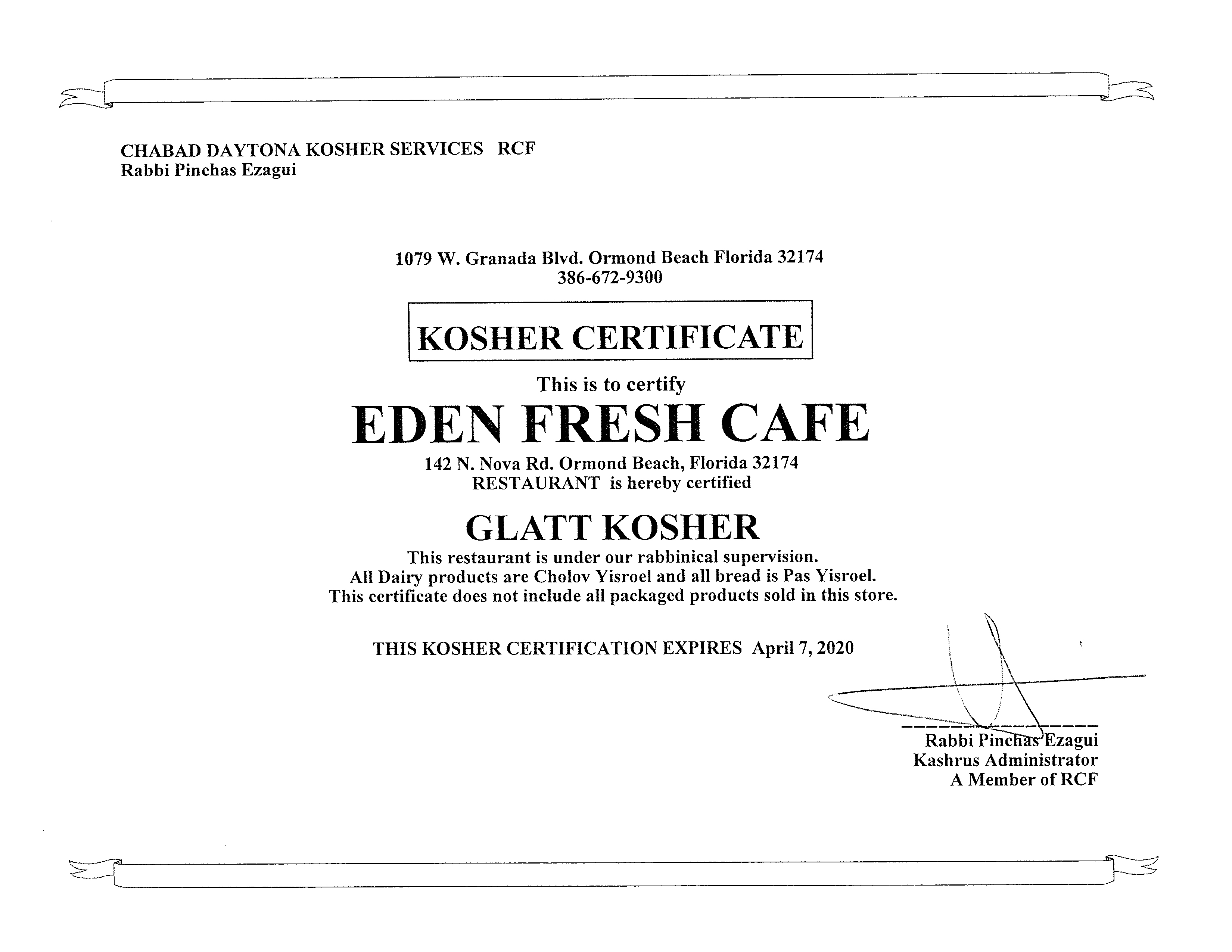 Kosher Certified Restaurant | Eden Fresh Cafe