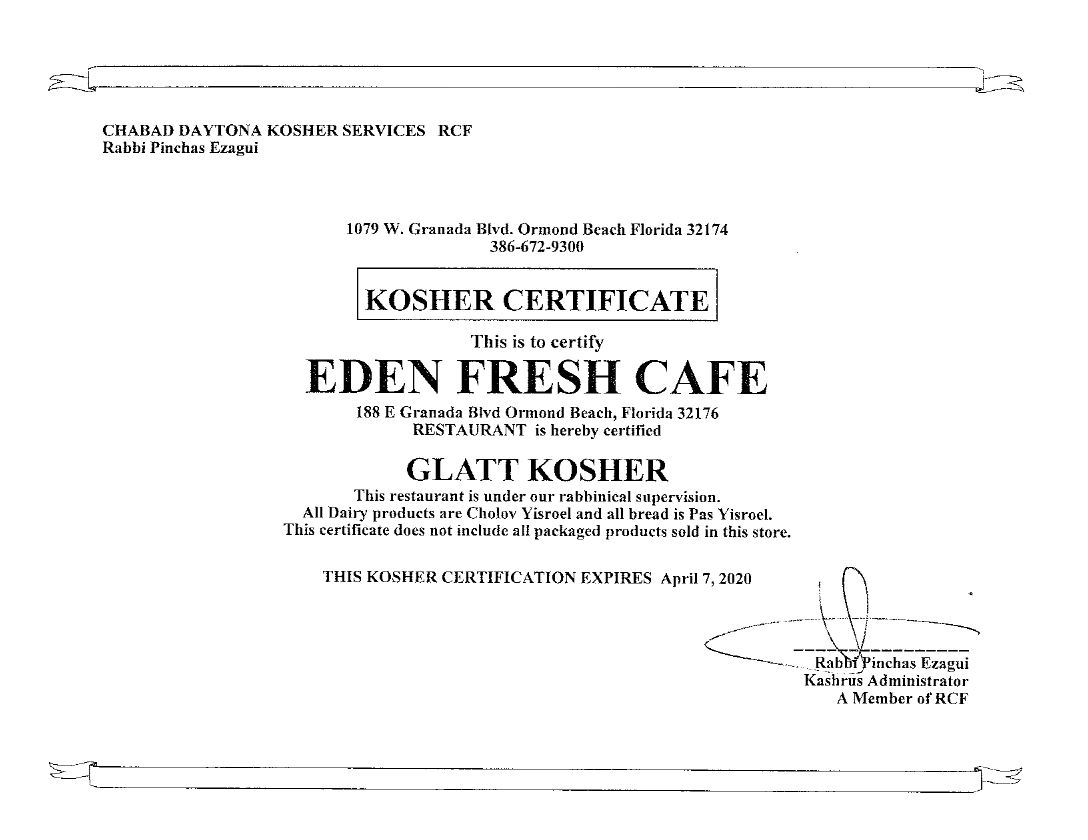Kosher Certified Restaurant   Eden Fresh Cafe