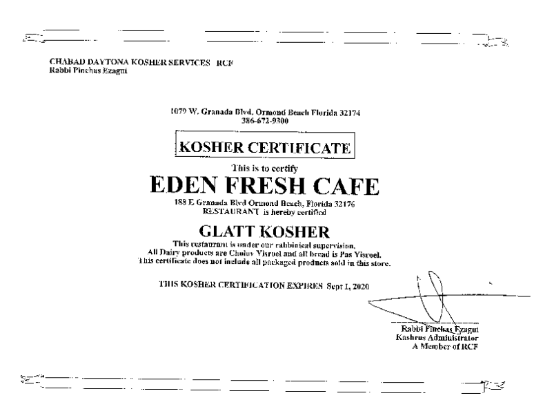 Kosher Certified Restaurant | Eden Fresh Cafe