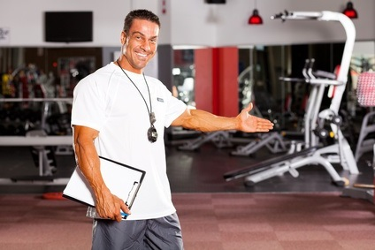 gym trainer welcome customer