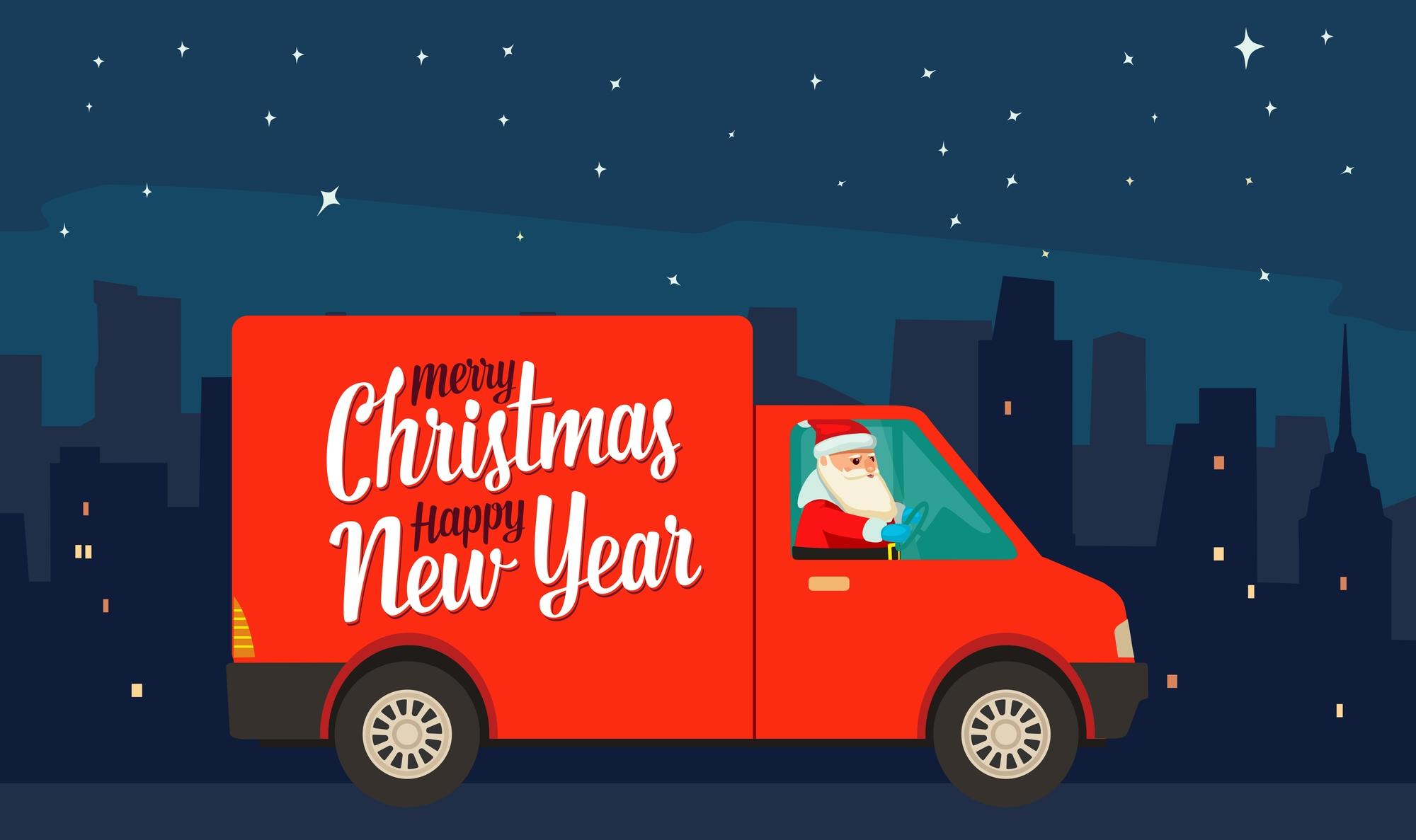 Santa driving a Christmas truck