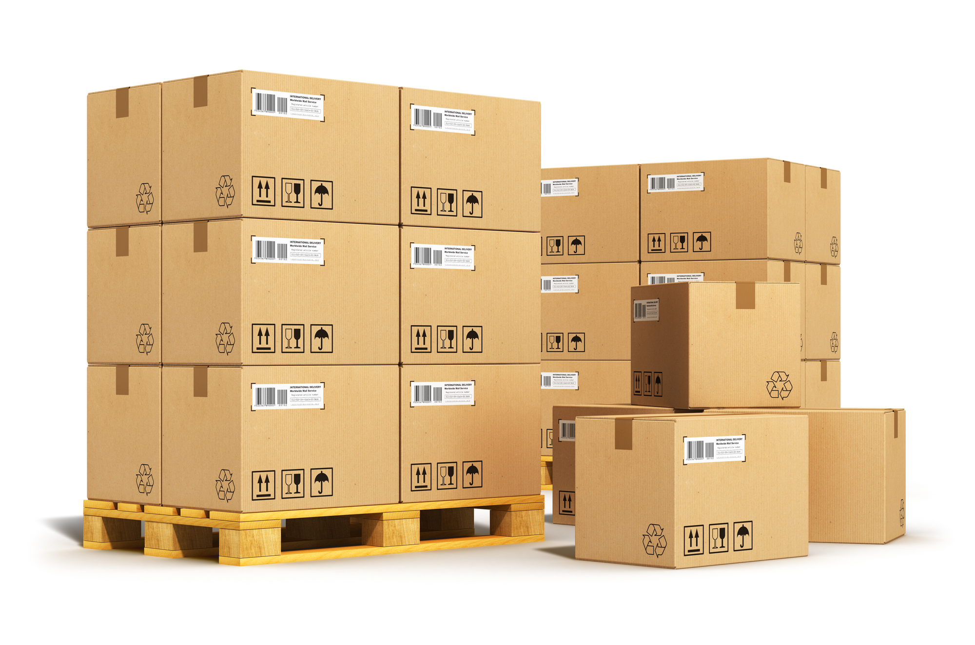 Boxed goods are loaded onto a pallet