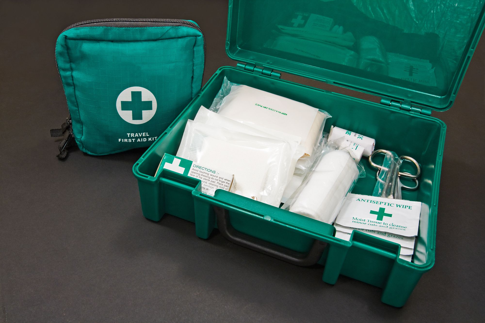 A well-organized first aid kit