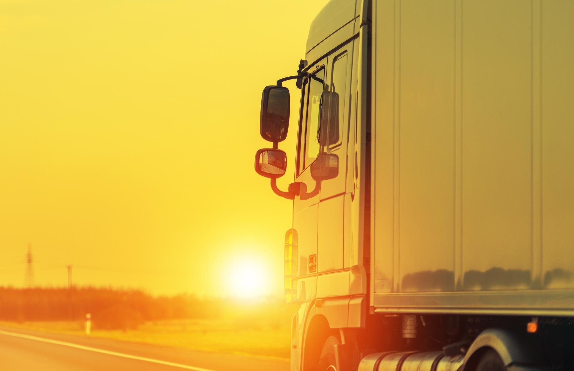 Glaring sun over a truck