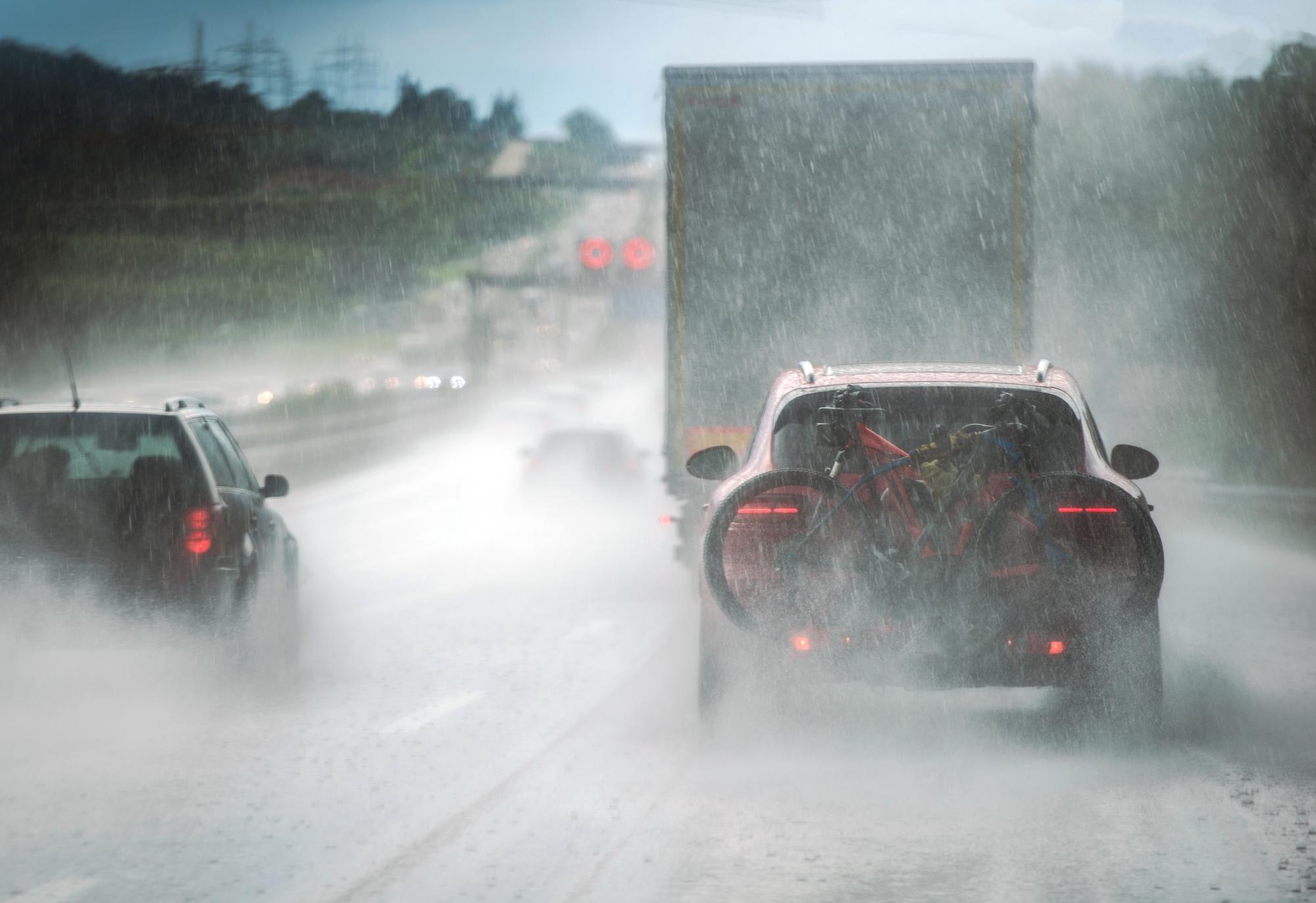 Heavy traffic caught in the rain