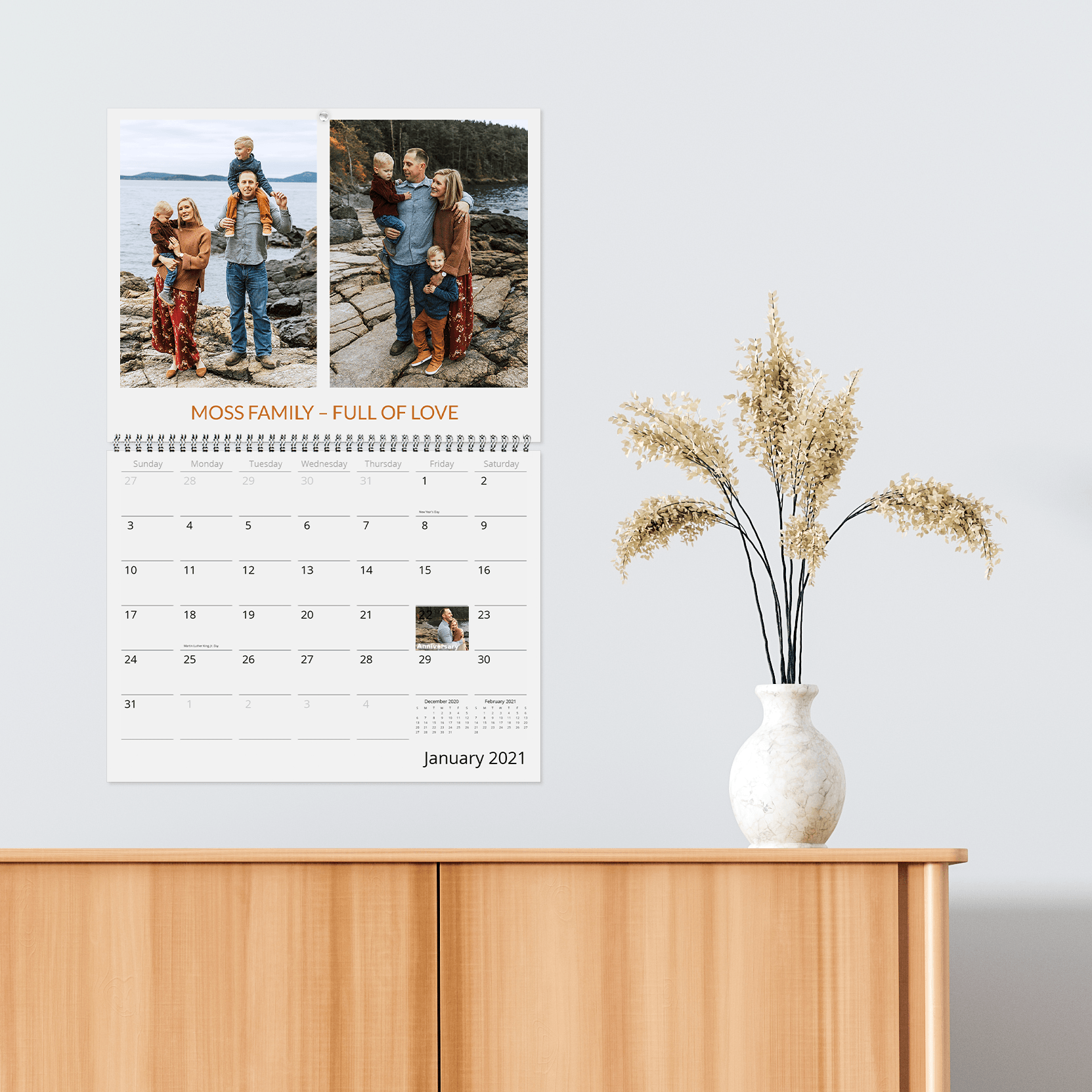 Make a custom photo wall calendar as an annual family gift tradition