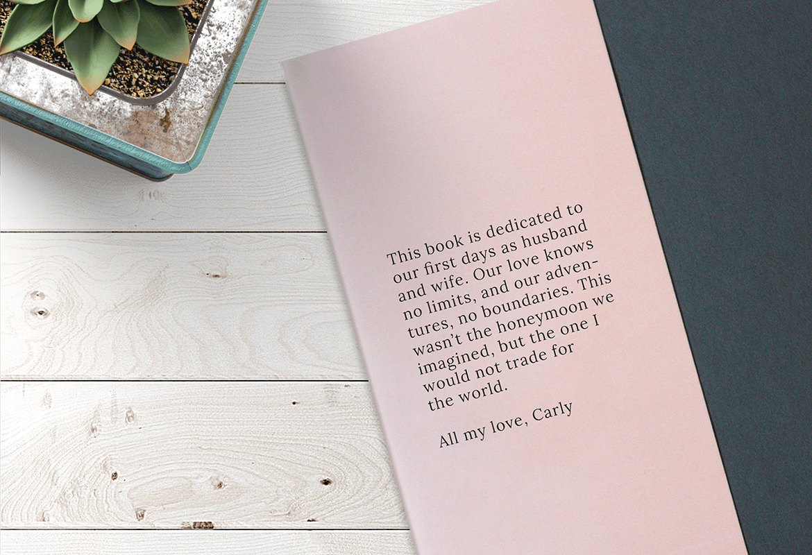 Write a book dedication or intro at the start of your photobook
