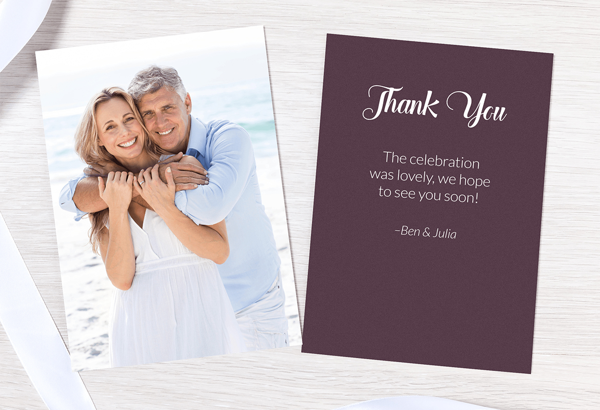 Order a stack of personalized thank you or gratitude cards