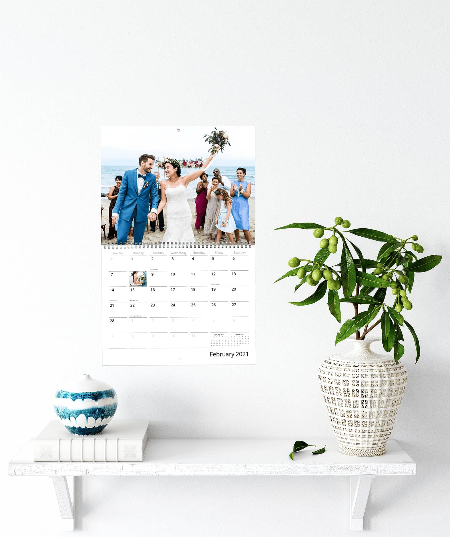 Create a personal calendar consisting of your favorite photos and images to hang on your wall
