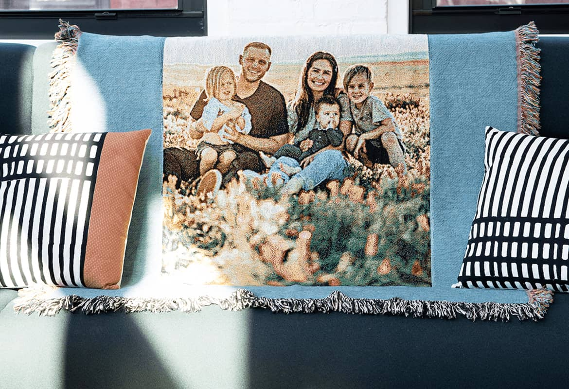 Create a custom photo blanket or woven throw for Father's Day with Mimeo Photos