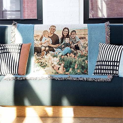 Make a custom photo blanket or woven throw
