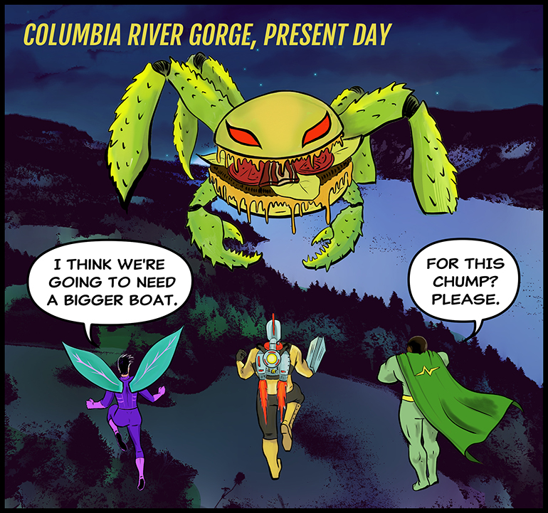 Three superheroes face a giant crab monster
