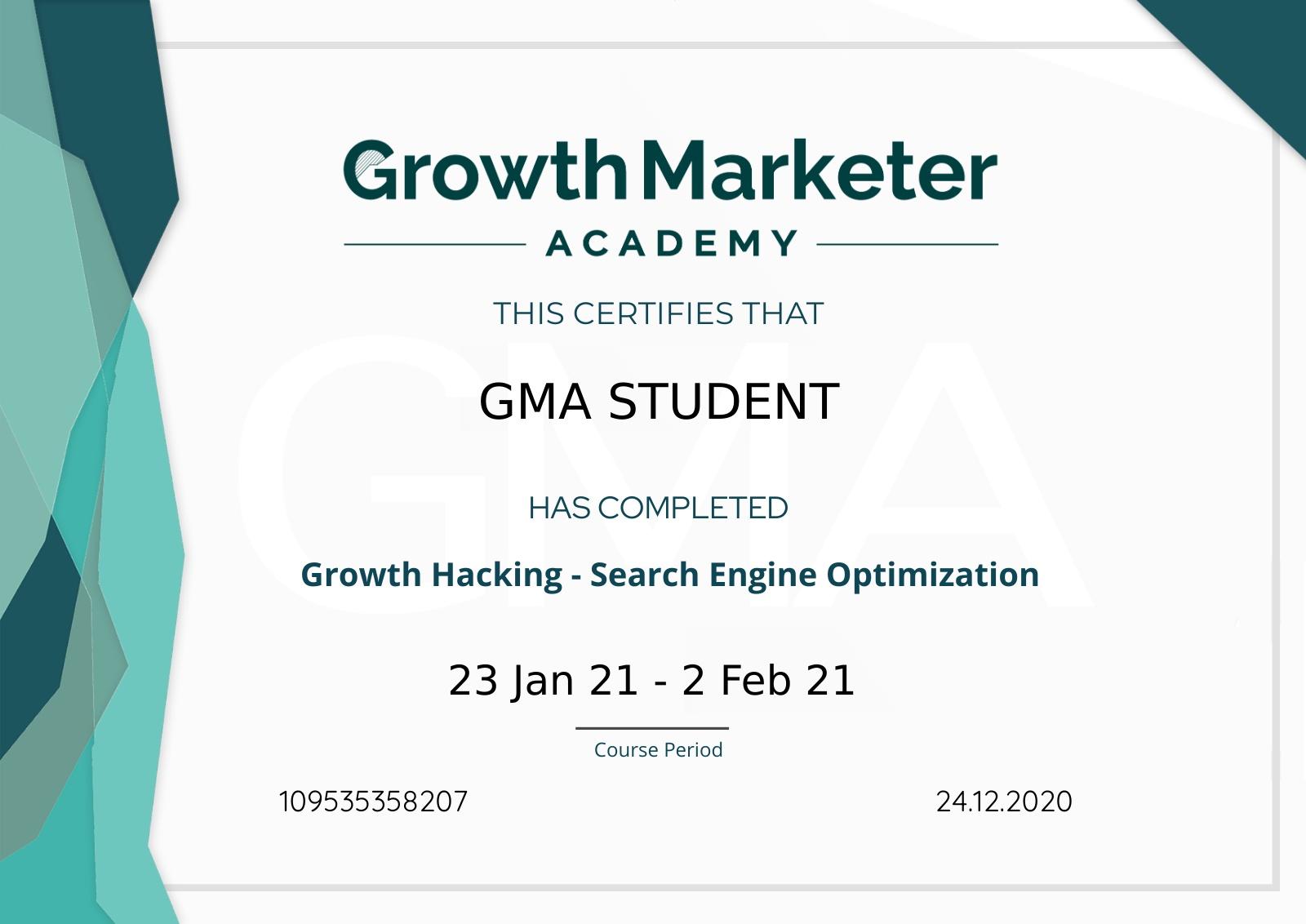 GMA e-certificate