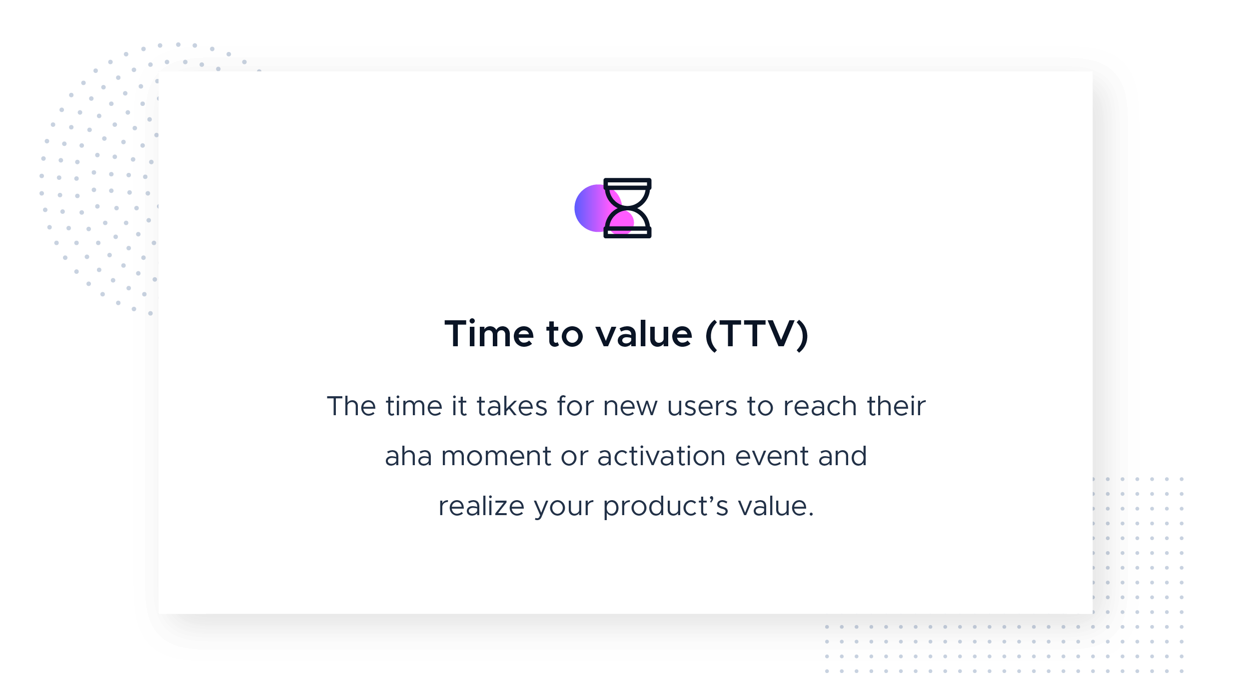 Time to value definition with icon from the Product-Led Growth Collective. This image defines time to value (TTV) as the time it takes for new users to reach their aha moment or activation event and realize your product's value.