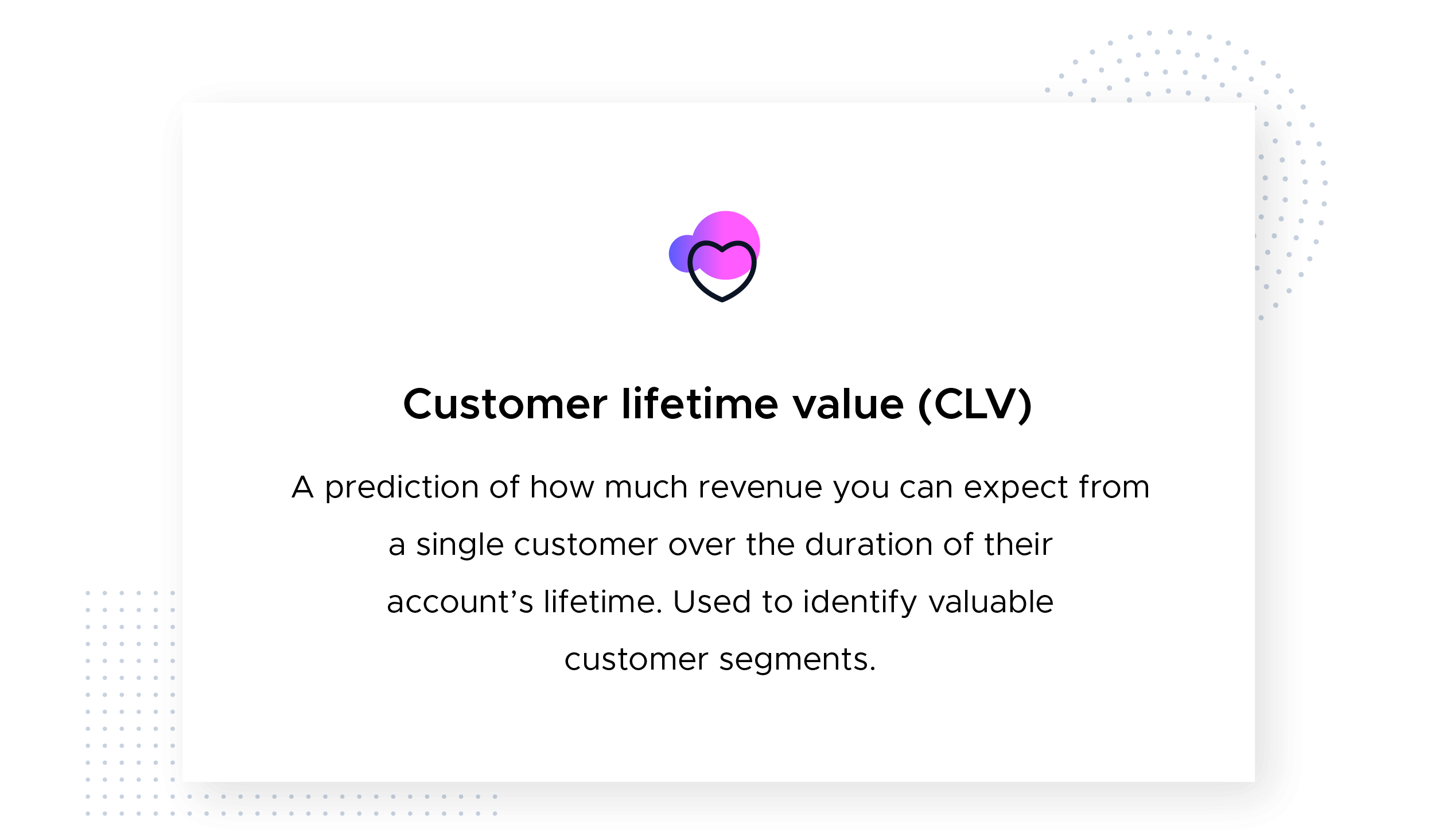 Customer lifetime value (CLV) definition with icon from the Product-Led Growth Collective. This image defines customer lifetime value as a prediction of how much revenue you can expect from a single customer over the duration of their account's lifetime. Used to identify valuable customer segments.
