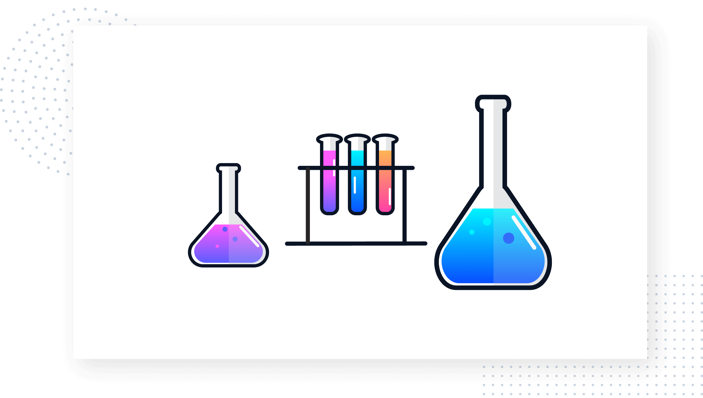 This is an image showing science laboratory tools, beakers, and test tubes in purple, blue, and orange gradients. This is a colorful graphic of scientific experiment equipment. From the Product-Led Growth Collective.