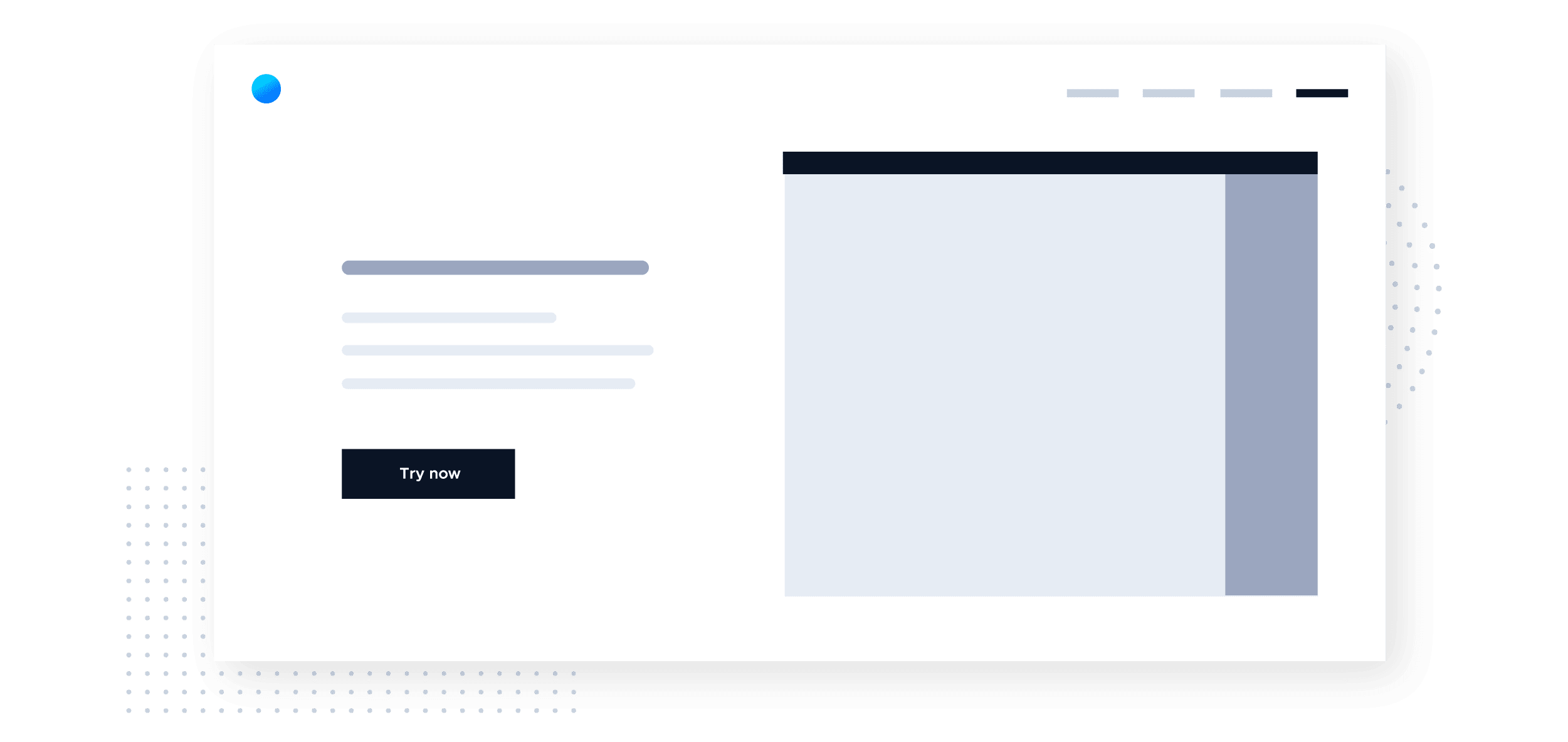 """This is a wireframe image of a website that is designed for product-led growth. This is an example of a company that has a  free trial or freemium software product. There is a prominent """"TRY NOW"""" call to action button. This image is from the Product-Led Growth Collective."""